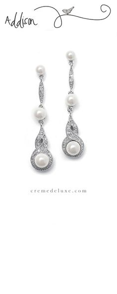 Vintage styling describes these dangle bridal and wedding earrings with braided CZ pave design and dainty white pearls
