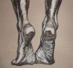 Feet Charcoal Drawing on Cardboard by Metal Hand by BrokeDrawers ...