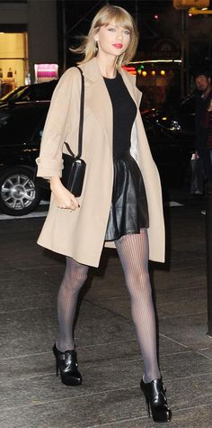 21 Chic Celebrity Looks That Have Us Saying Yes to Tights | InStyle.com Taylor Swift dined out in NYC in a flirty LBD, coupling it with a camel coat, muted gray tights, and buckled booties.