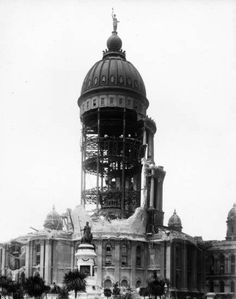 San Francisco earthquake damage, showing an exterior view of the City Hall Dome, 1906 | California Historical Society Collection, 1860-1960