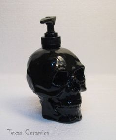 Human Skull Pump Dispenser in Shiny Black Ceramic by TexasCeramics, $20.00