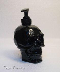 Human Skull Pump Dispenser in Shiny Black Ceramic by TexasCeramics, $20.00