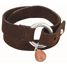 Cuero-pulsera con metal depósito flexible marrón oscuro