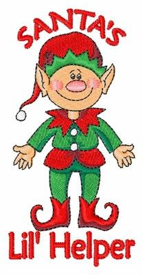 Fantasy Embroidery Design: Santas Lil Helper from Concord Collections Christmas Yard Art, Christmas Drawing, Christmas Bows, Christmas Canvas, Christmas Signs, Christmas Stockings, Machine Embroidery Applique, Free Machine Embroidery Designs, Embroidery Ideas