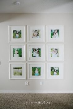 Wall of pictures~ white frames and color pics! love the change from black and white in black frames!