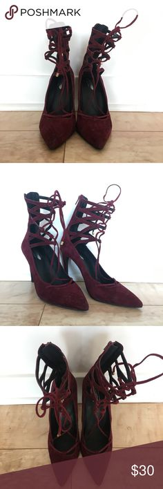 ✨ Free People Lace Up Stiletto ✨ Free People maroon lace up stiletto. Size 9 1/2 but could fit a 9. Free People Shoes Heels