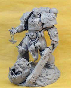 tall statue of RammsteinMarine. Warhammer 40k Figures, Warhammer Models, Warhammer 40k Miniatures, Warhammer 40000, Warhammer Armies, Warhammer 40k Space Wolves, Blood Bowl Teams, Space Marine, Lion Sculpture