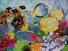 Coral Reef Fish Scene watercolor