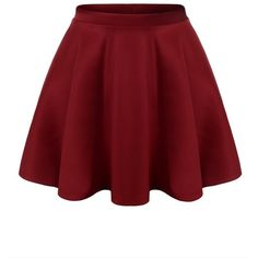 URBANCLEO Womens Solid Versatile A-Line Stretchy Flared Skater Skirt (€14) ❤ liked on Polyvore featuring skirts, bottoms, flare skirt, flared hem skirt, red flared skirt, flared skirt and red skater skirt