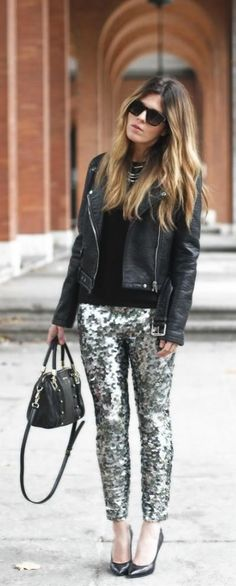 Rock those sequin pants even if you're not at a holiday party! These can transition to day by pairing them with your favorite basics, a chic leather jacket and a pair of pumps! You'll be ready to tackle anything that comes your way! What would you pair with this for a daily look? Are you a fan of dressing up the basics with fun pieces like this?