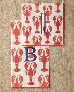 Lobster Cocktail Napkins & Guest Towels by Caspari at Horchow~could pass for a South Louisiana crawfish ; Lobster Bake Party, Crawfish Party, Lobster Fest, Crab And Lobster, Lobster Boil, Lobster Dinner, Rock Lobster, Seafood Dinner, Monogrammed Napkins