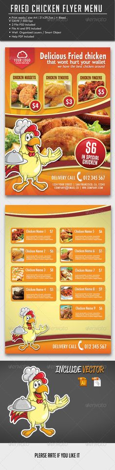 Fried Chicken Flyer Menu  Menu Restaurant Menu Templates And