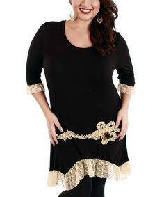 Look what I found on #zulily! Black & Beige Lace Tunic - Plus by Aster #zulilyfinds