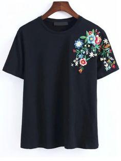 T-shirt de broderie de fleur noire