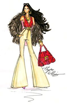 Hayden Williams Fashion Illustrations: Kimora Lee Simmons - 'Fabulosity' by Hayden Williams Fashion Illustration Sketches, Illustration Mode, Fashion Sketches, Fashion Drawings, Fashion Prints, Fashion Art, Fashion Models, Fashion Design, Paper Fashion