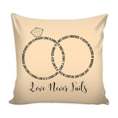 "Love Never Fails-Wedding Rings Pillow-Inside Cover 16"" *(10 color options to choose from)*"
