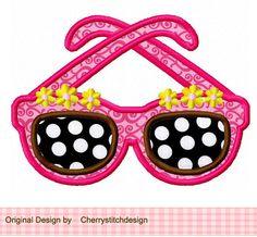 Fashion Girl Glasses Applique 4x4 5x7 by CherryStitchDesign, $2.99