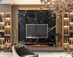 Living Room Wall Designs, Living Room Wall Units, Tv Unit Interior Design, Interior Design Living Room, Modern Tv Unit Designs, Modern Tv Room, Bedroom False Ceiling Design, False Ceiling Living Room, Living Tv