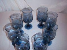 Vintage-Glassware-Set-of-8-Smoked-Blue-Vintage-80z-Water-Stemed-Glass
