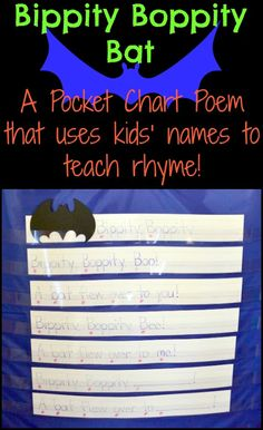 """A """"Batty"""" Pocket Chart Poem: Teach Rhyme using Kids' Names and other helpful Pocket Chart Tips!"""
