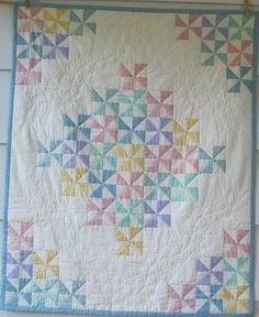 Handquilted Pastel Pinwheels for your Precious One, Crib Size
