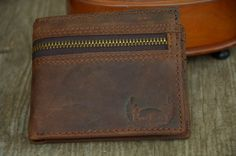 Mens Wallet Bifold Wallet Brown Genuine Leather Wallet Distressed Wallet Retro Vintage Style by SherryJewelry, $25.00