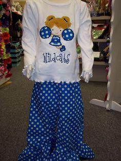 Girls Size 2 Cheer Uniform Personalized Boutique UK WILDCATS Ruffle Shirt  Ruffle Pant Set by PumpkinPieGirl. $43.99, via Etsy.