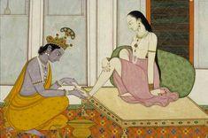 Krishna and Radha [Krishna Massages Radha foot] Mughal Paintings, Indian Art Paintings, Sanskrit, Indian Comics, Ganesha Painting, Avatar, Radha Krishna Love, India Art, Krishna Images