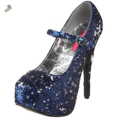 Bordello by Pleaser Women's Teeze-07Sq Pump,Blue/Silver Sequins,10 M US - Pleaser pumps for women (*Amazon Partner-Link)