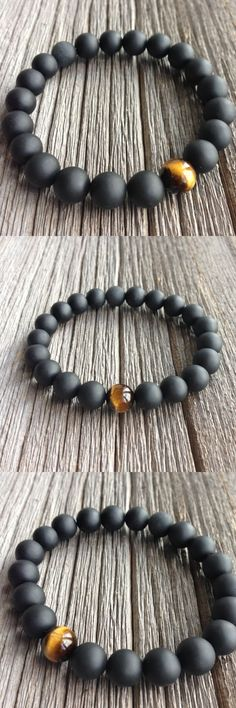 1e6e1621ef3d High Quality Jewelry Handmade Men s 10mm Beads Bracelets With One Tiger eye  bead And Real Matte Black Onyx Natural Stone Jewelry  men sjewelry