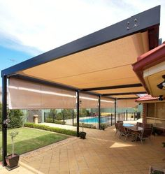 Roof mounted retracting awnings with frame, poles and side screens to protect against the strong afternoon westerly sun.