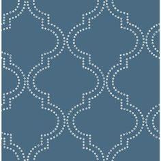 A-Street 56 sq. ft. Tetra Blue Quatrefoil Wallpaper-2625-21803 - The Home Depot