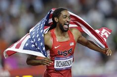 United States' Jason Richardson celebrates winning silver in the men's 110-meter hurdles final during the athletics in the Olympic Stadium at the 2012 Summer Olympics, London, Wednesday, Aug.