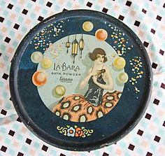 1920's Vintage Lithogeraphed La Bara Bath Powder Tin, Flapper Girl, Fancy Dress, Masquerade Mask. via Etsy.
