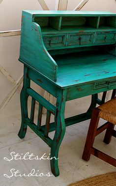 Rustic Cottage Mexican Spanish Painted Desk by StiltskinStudios in Cobalt Blue Real Milk Paint.  http://www.realmilkpaint.com/products.html