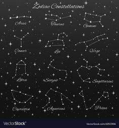 Hand drawn vector zodiac constellations set of 12 signs aries, taurus, gemini, c…, … - leo constellation tattoo Virgo And Cancer, Sagittarius And Capricorn, Aquarius Constellation Tattoo, Bull Tattoos, 12 Signs, Zodiac Constellations, Hand Drawn, How To Draw Hands, Adobe Illustrator