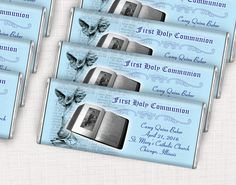 Boy First Communion Party Favor Ideas - Custom Wrapped Candy Bars to pass out to family and friends Communion Party Favors, Boys First Communion, Custom Wraps, Candy Bars, Catholic, Friends, Ideas, Chocolate Chip Bars, Amigos