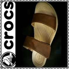 Crocs Sandal Wedge Crocs Signature Comfort Slip Ons, Dual Crocs Comfort Style, About 2 inches Wedge, Adjustable Velcro for Maximum Comfort Fit.   Lightweight yet Heavily Cushioned, Massaging Footbed Soothes, Wide Fit Great for Everyday Use, Like New Condition crocs Shoes