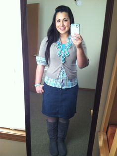 Denim skirt, green and blue plaid shirt, gray cardigan, turquoise bubble necklace, gray boots. Casual outfit modest winter fashion
