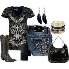 LOVE the shirt & jeans! Skip the purse, bracelets, and nail polish.