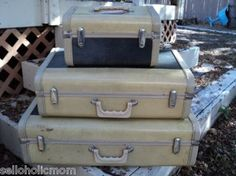 Vintage Gateway suitcase train case Luggage trio tan blue set #sold