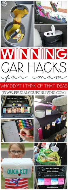 Winning Car Hacks for Moms on Frugal Coupon Living. Why didn't I think of that ideas and car tips for travel and every day trips. #hacks #tips #frugalcouponliving #carhacks #organization #cartips #momhacks