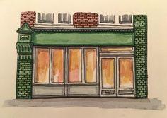 London shopfront. Pen, ink and water colour. Moleskine sketchbook. Urban Sketch.