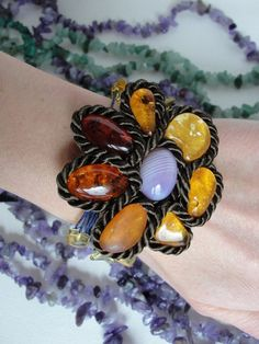 Amber bracelet flower, unique cabochons, silver from Jewelry&Hand Made by DaWanda.com