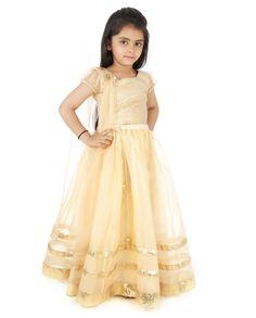 Golden Lengha Set Kinder Salwar Kameez, Lehenga Choli, Indische Kleider,  Frock Design, 38b4d10805