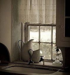 Primitive Kitchen Ideas thumbnail, love the colors and lace cafe curtains