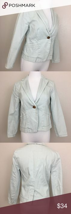"""Cartonnier Anthropologie denim jacket blazer, 2P Cartonnier Anthropologie Powder blue denim jacket/blazer with elbow patch and pockets.  Fabric is made of 99% cotton and 1% spandex. Machine washable.  Size 2P Armpit to armpit laid flat 17.5"""" Waist laid flat 16"""" Length 20"""" Approximate only.  Great condition.  No stains or holes. Freshly washed.  Stored in a smoke and pet free household.  Please see all pictures in details or ask any questions to avoid return.  Check out my store for other…"""