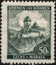 Karlštejn Vintage Pictures, Art Pictures, Old Stamps, Postage Stamp Art, Interesting Buildings, Wwi, Tree Branches, Germany, Landscape