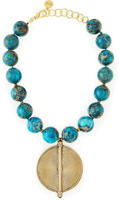 Chunky Turquoise Jasper Beaded Pendant Necklace by NEST Jewelry at Neiman Marcus. Jewelery, Jewelry Necklaces, Beaded Necklace, Pendant Necklace, Necklace Ideas, Diy Jewelry Inspiration, Affordable Jewelry, Crystal Bracelets, Fashion Necklace