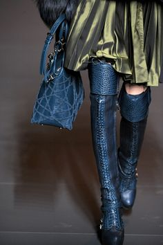 Teal coloured boots and bag from  Galliano's Christian Dior Fall 2011 collection